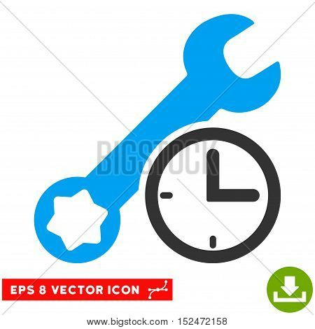 Service Time EPS vector pictogram. Illustration style is flat iconic bicolor blue and gray symbol on white background.
