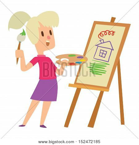 Boy and girl artist kids children. Education artist kids children painting around blank canvas with space for text. Creative little artist kids children preschool colorful characters vector.