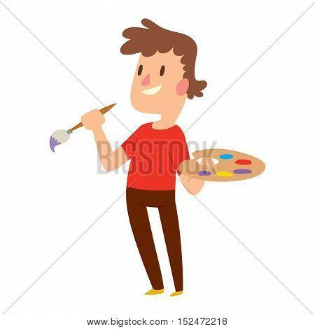 Artist kid children. Education artist kid children painting. Creative little artist baby kid children preschool colorful character vector.
