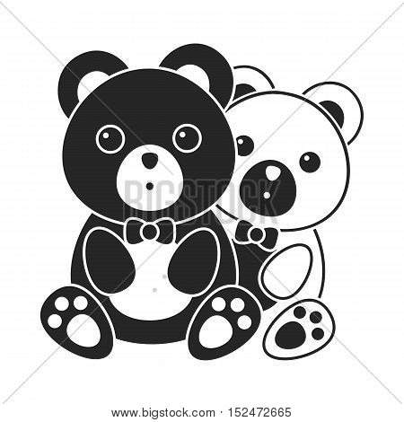 bears icon in black style isolated on white background. Romantic symbol vector illustration.