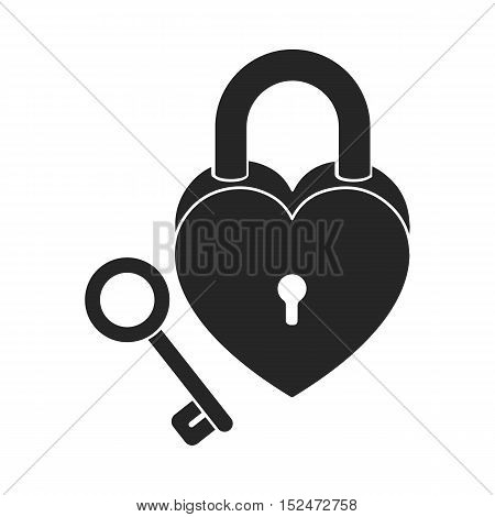 Lock and key icon in black style isolated on white background. Romantic symbol vector illustration.