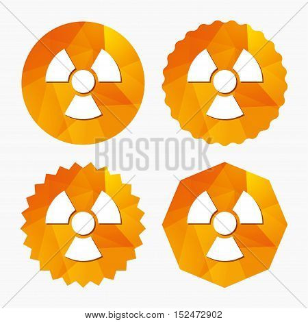 Radiation sign icon. Danger symbol. Triangular low poly buttons with flat icon. Vector