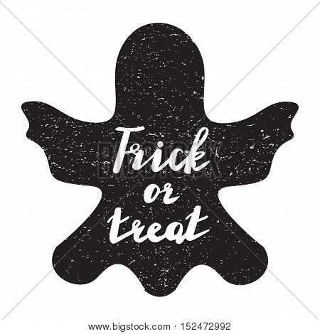 Halloween overlays label with quotes inside on textured ghost. vector background. modern brush calligraphy and hand drawn lettering. Use halloween cards, covers, tags, icons set and more.
