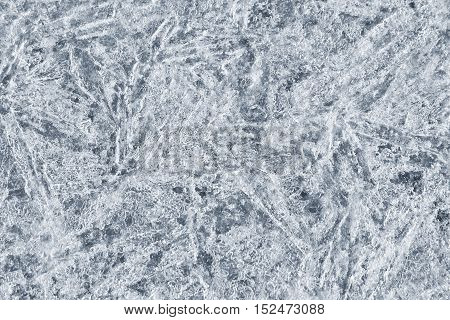 Detailed texture of ice. Ice crystals form a beautiful pattern