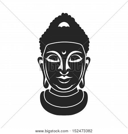 Buddha icon in black style isolated on white background. Religion symbol vector illustration.