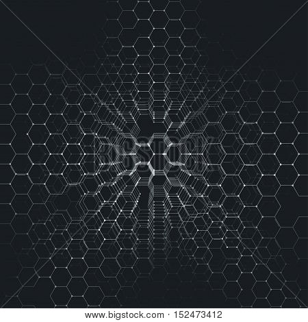 Chemistry 3D pattern, hexagonal design molecule structure on black, scientific medical research. Medicine, science and technology concept. Motion design. Geometric abstract background black and white