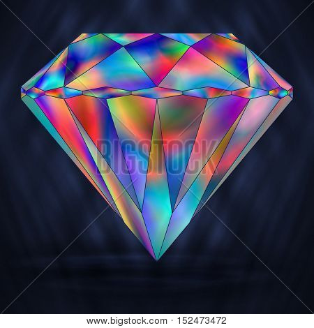 Sign Colorful Rainbow Crystal. Iridescent Object Gemstone.