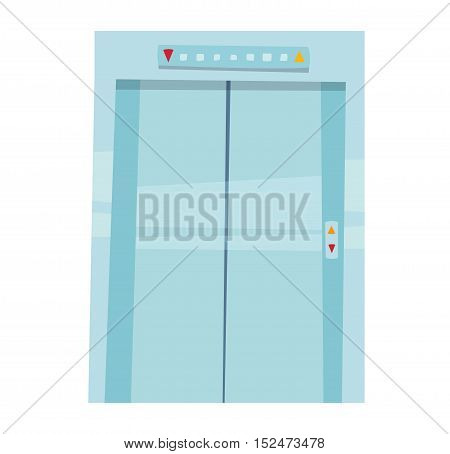 Color lift door isolated on white.