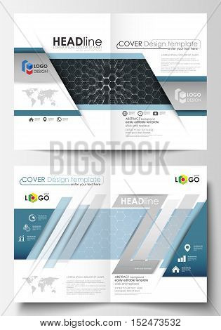 Templates for bi fold brochure, magazine, flyer or report. Cover design template, easy editable vector layout in A4 size. Chemistry pattern, hexagonal molecule structure. Medicine and science concept.
