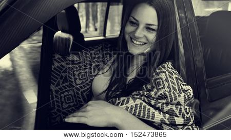Woman Driving Leisure Activity Concept