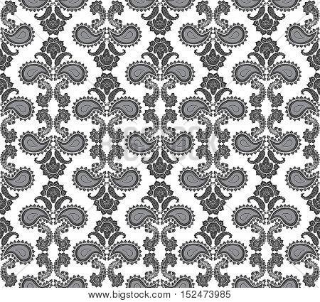 Abstract floral seamless pattern. Arabic flower ornament. Regular flourish monochrome ornament
