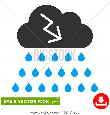 Thunderstorm Rain Cloud EPS vector pictograph. Illustration style is flat iconic bicolor blue and gray symbol on white background.