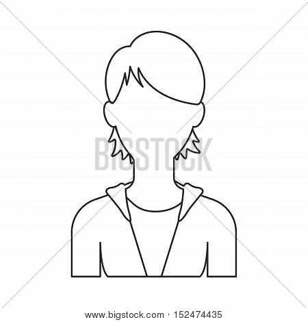 Woman icon outline. Single avatar, people icon from the big avatar outline.