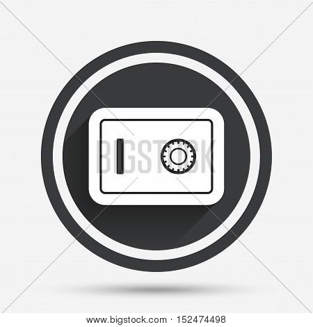 Safe sign icon. Deposit lock symbol. Protection for your documents in hotel. Circle flat button with shadow and border. Vector