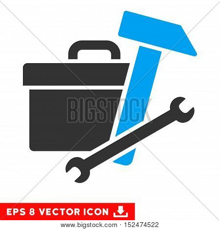 Toolbox EPS vector icon. Illustration style is flat iconic bicolor blue and gray symbol on white background.