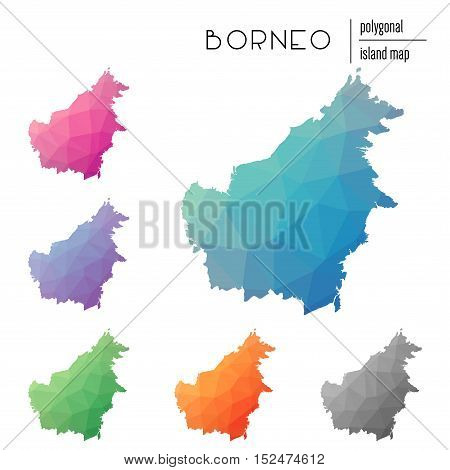 Set Of Vector Polygonal Borneo Maps Filled With Bright Gradient Of Low Poly Art. Multicolored Island