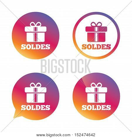 Soldes - Sale in French sign icon. Gift box with ribbons symbol. Gradient buttons with flat icon. Speech bubble sign. Vector