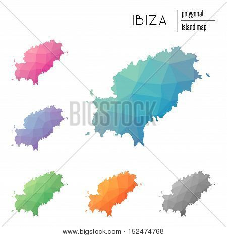Set Of Vector Polygonal Ibiza Maps Filled With Bright Gradient Of Low Poly Art. Multicolored Island