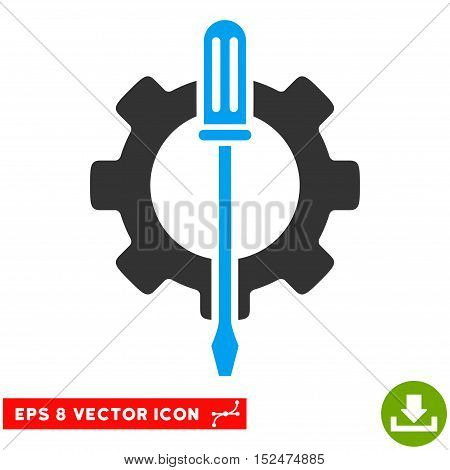 Tuning Options Gear EPS vector pictograph. Illustration style is flat iconic bicolor blue and gray symbol on white background.