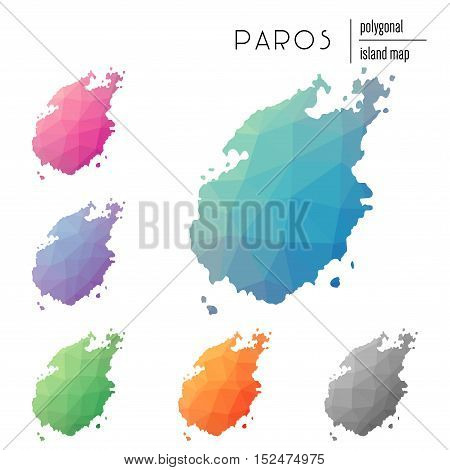 Set Of Vector Polygonal Paros Maps Filled With Bright Gradient Of Low Poly Art. Multicolored Island
