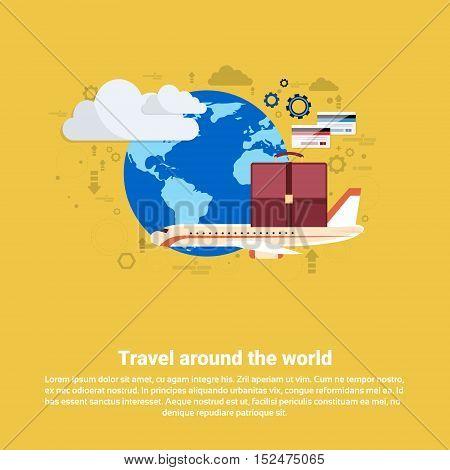 Around World Travel Tourism Web Banner Flat Vector Illustration