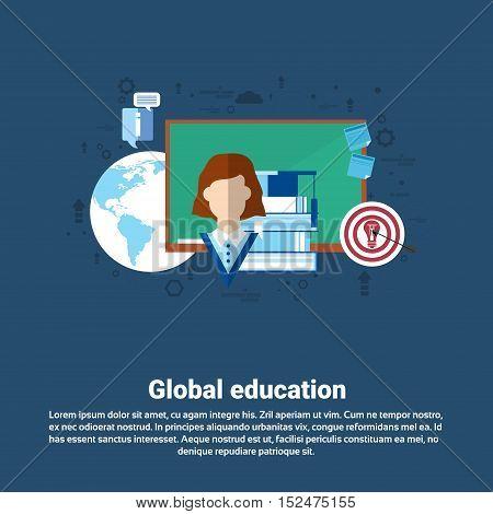 Global School Study Process University Education Web Banner Flat Vector Illustration
