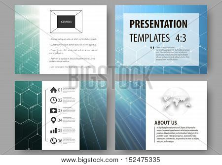 Business templates for presentation slides. Easy editable vector layouts. Chemistry pattern, hexagonal molecule structure, scientific or medical research. Medicine, science and technology concept