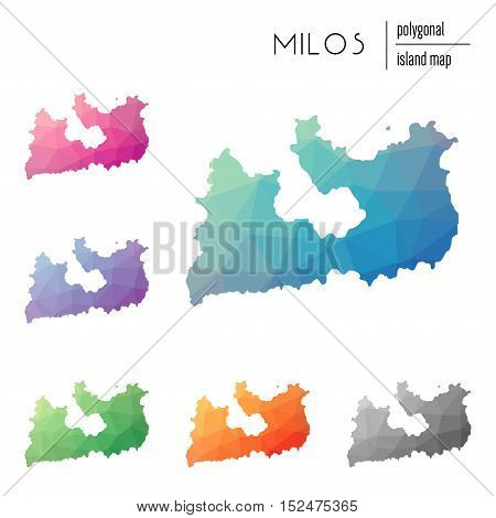 Set Of Vector Polygonal Milos Maps Filled With Bright Gradient Of Low Poly Art. Multicolored Island