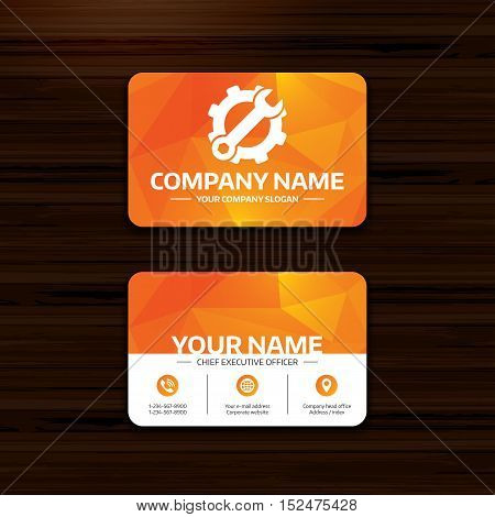 Business or visiting card template. Service icon. Wrench key with cogwheel gear sign. Phone, globe and pointer icons. Vector