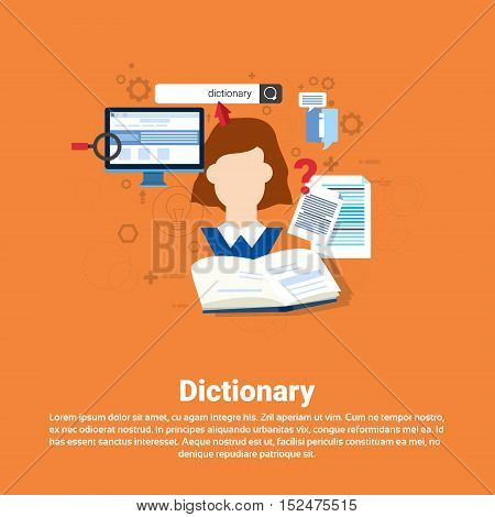 Dictionary Vocabulary Technology Translation Tool Web Banner Flat Vector Illustration
