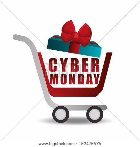 shopping cart gift cyber monday vector illustration eps 10