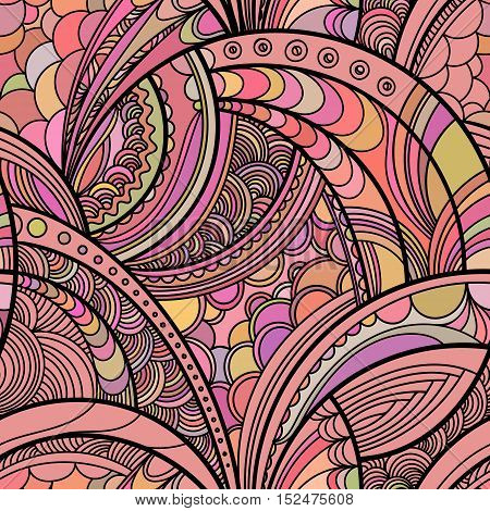 Hand drawn floral pattern. Colorful pink vector seamless background with linear botanical abstract illustration. Repeating texture boho style.