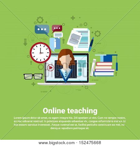 Teaching Online Web Education Banner Flat Vector Illustration