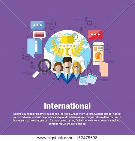 International Social Media Network Internet Connection Communication Web Banner Flat Vector Illustration