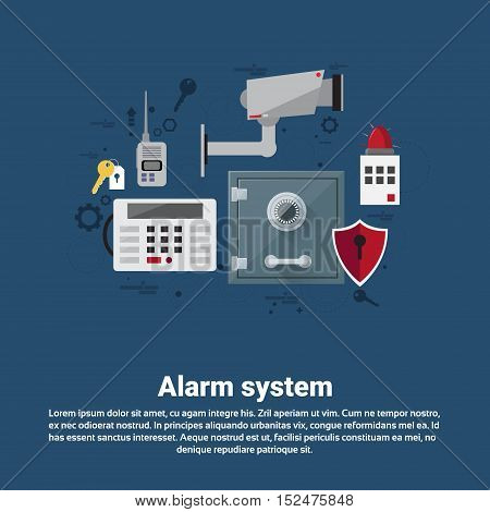 Alarm Thief Security Protection Insurance Web Banner Flat Vector Illustration