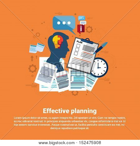 Effective Planning Strategy Business Web Banner Flat Vector Illustration