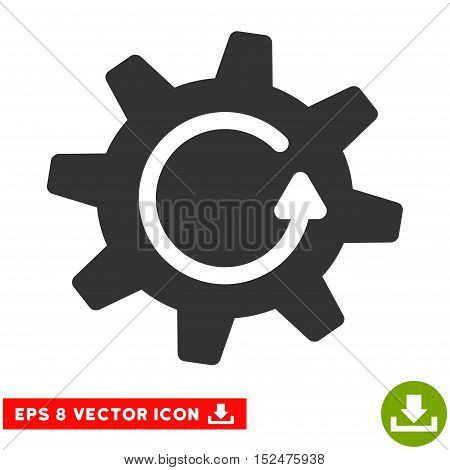 Cogwheel Rotation Direction EPS vector pictograph. Illustration style is flat iconic gray symbol on white background.