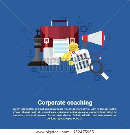 Corporate Coaching Management Business Web Banner Flat Vector Illustration