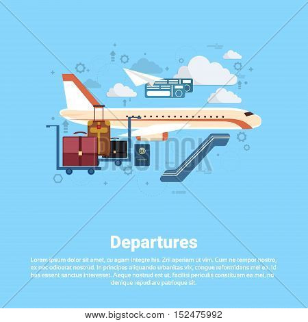 Airplane Departure Transportation Air Tourism Web Banner Flat Vector Illustration