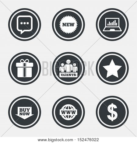 Online shopping, e-commerce and business icons. Gift box, chat message and star signs. Chart, dollar and clients symbols. Circle flat buttons with icons and border. Vector