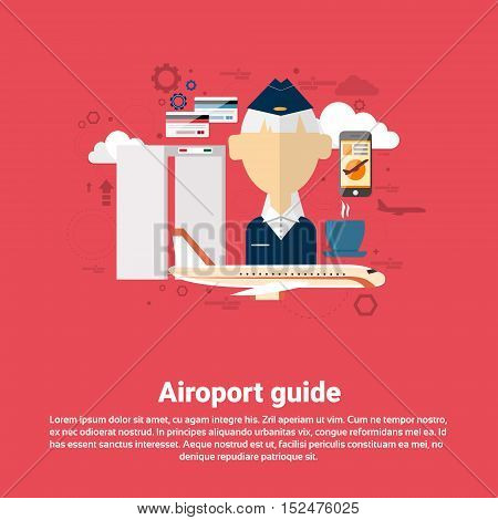 Airport Guide Airplane Transportation Air Tourism Web Banner Flat Vector Illustration