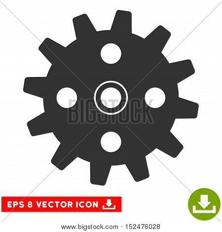 Cogwheel EPS vector pictogram. Illustration style is flat iconic gray symbol on white background.