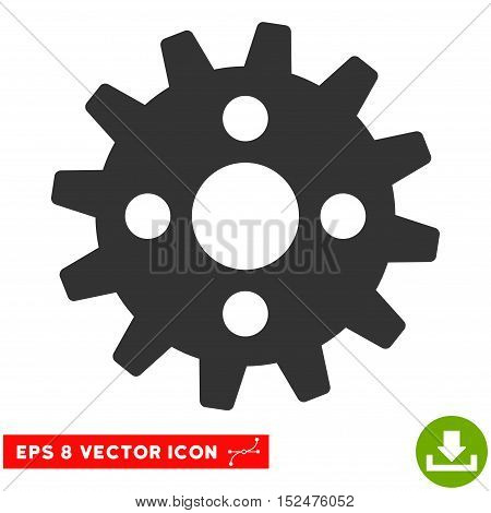 Cogwheel EPS vector pictograph. Illustration style is flat iconic gray symbol on white background.