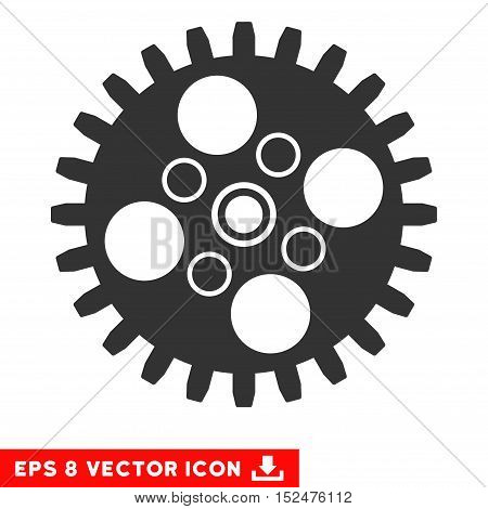 Cogwheel EPS vector icon. Illustration style is flat iconic gray symbol on white background.