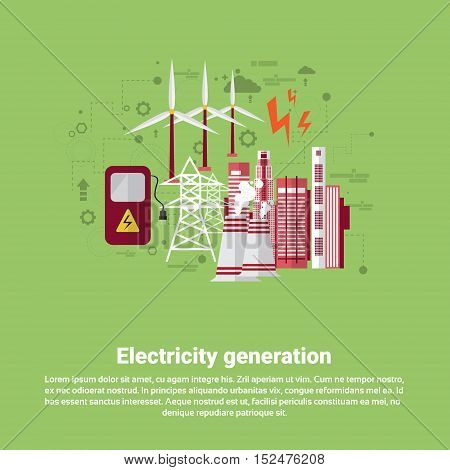 Electricity Generation Station Industry Web Banner Flat Vector illustration