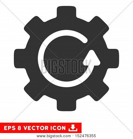 Gear Rotation EPS vector pictogram. Illustration style is flat iconic gray symbol on white background.