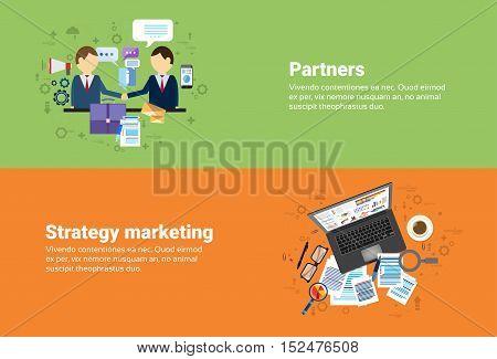 Businessman Partners Shake Hand Partnership, Digital Marketing Strategy Plan Business Web Banner Flat Vector Illustration