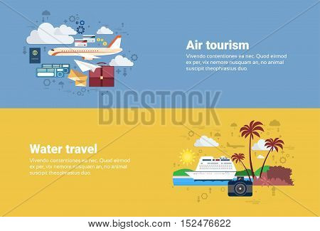 Airplane Transportation Air Tourism, Water Travel Cruise Tourism Web Banner Flat Vector Illustration