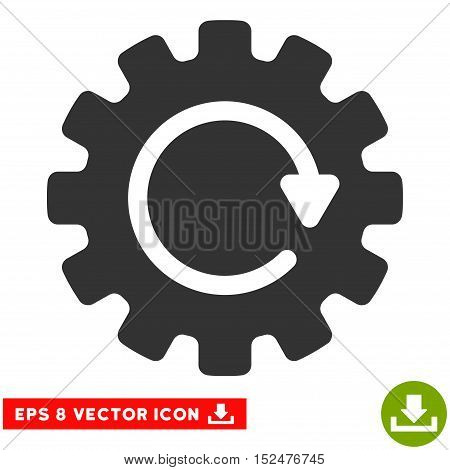 Gearwheel Rotation EPS vector icon. Illustration style is flat iconic gray symbol on white background.