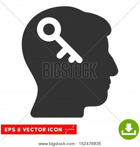 Head Key EPS vector pictograph. Illustration style is flat iconic gray symbol on white background.